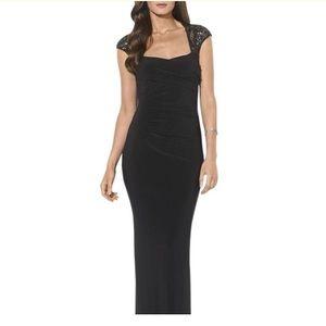 Black sequin shoulder evening gown
